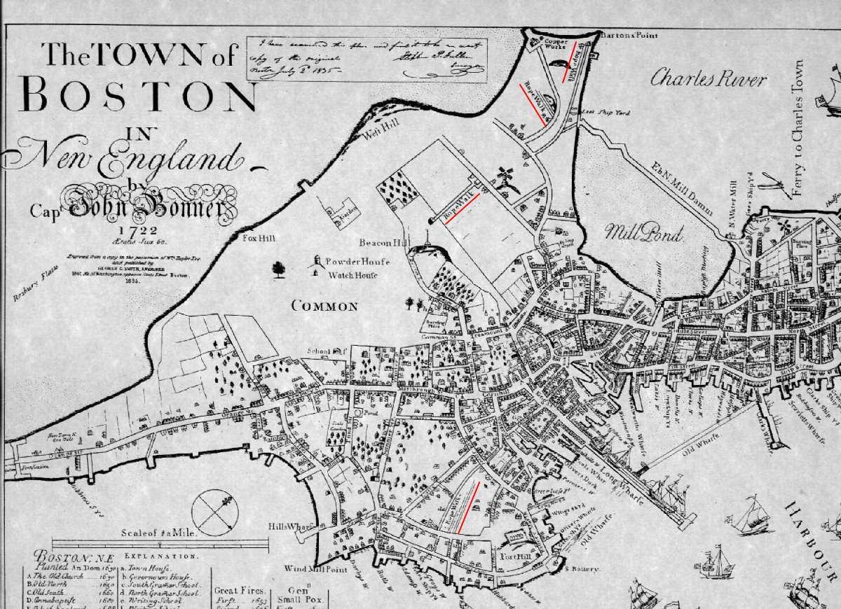 1722 captain bonners map of boston publicscrutiny Images
