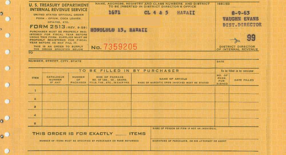 1963 Irs Official Order Form